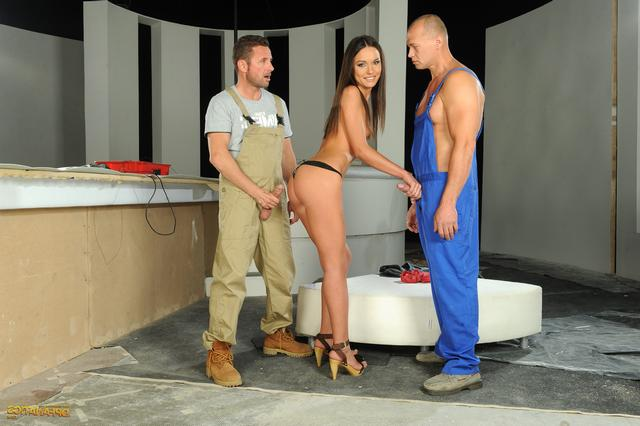 Two strong plumbers pulled hottie brunette 6 photo