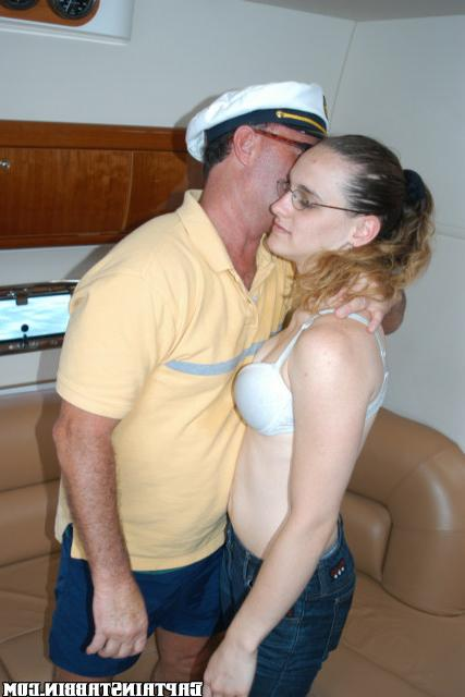 Bitch in glasses gave herself two strangers on a yacht 8 photo