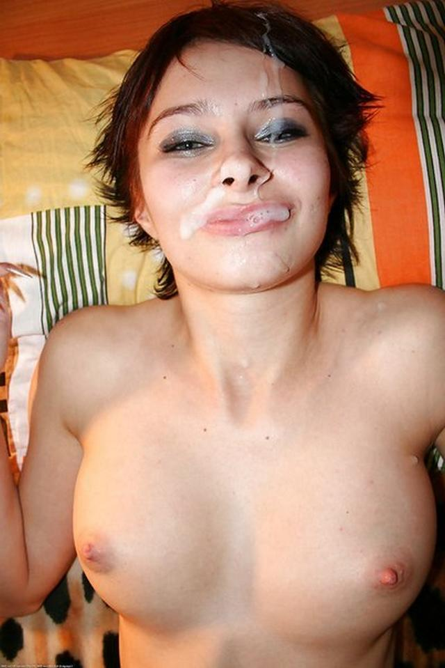 The jet of sperm on the faces of beautiful girls 27 photo