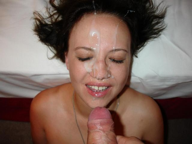 The jet of sperm on the faces of beautiful girls 26 photo