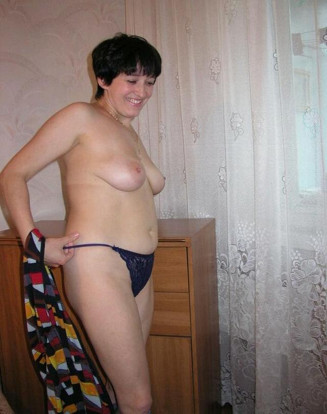 Housewife showed that she had beneath light dressing gown 14 photo