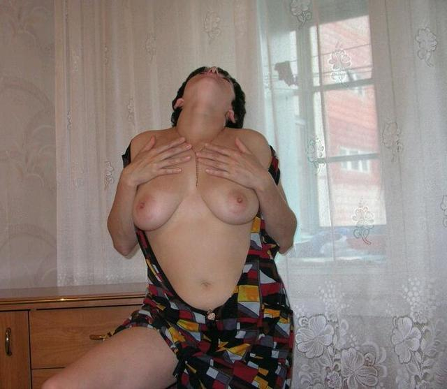 Housewife showed that she had beneath light dressing gown 9 photo