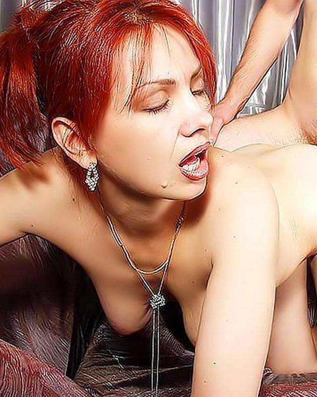 Red-haired beast pleasure for her slave 13 photo