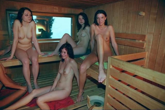 Group of young nude girls in a sauna 22 photo