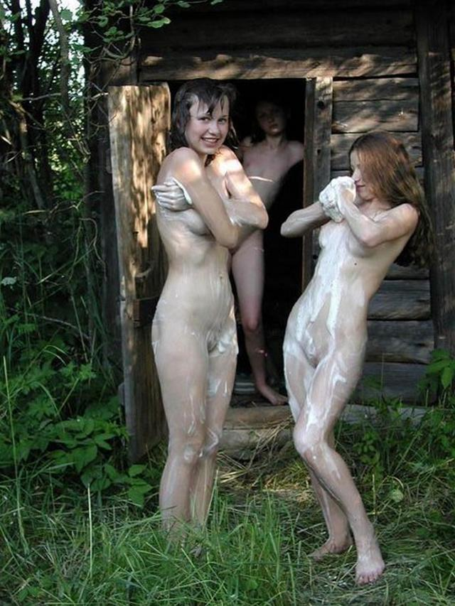 Group of young nude girls in a sauna 23 photo