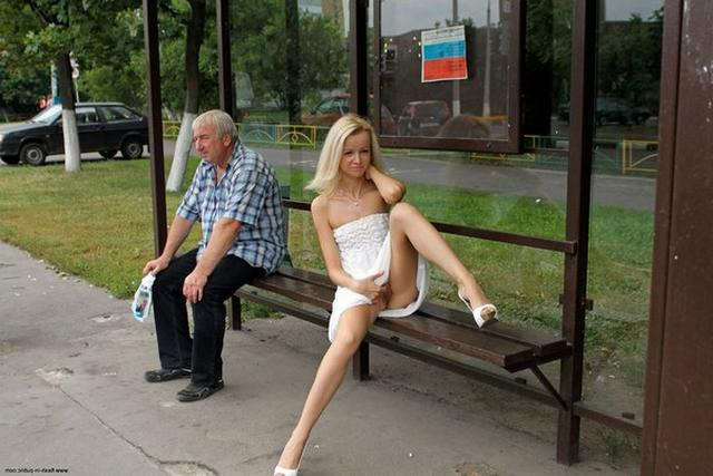 Skinny blonde shows shaved pussy in public places 21 photo