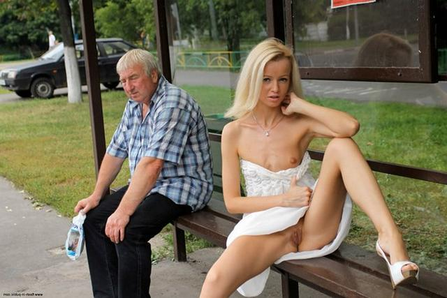 Skinny blonde shows shaved pussy in public places 23 photo