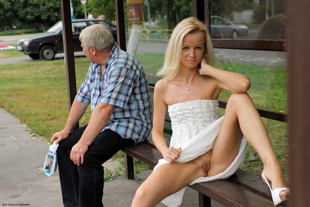 Skinny blonde shows shaved pussy in public places 22 photo