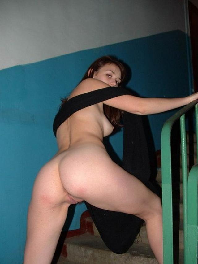 Long-legged whores posing in stairwell 2 photo