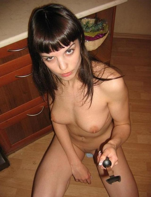 Shy brunette posing naked on camera 15 photo