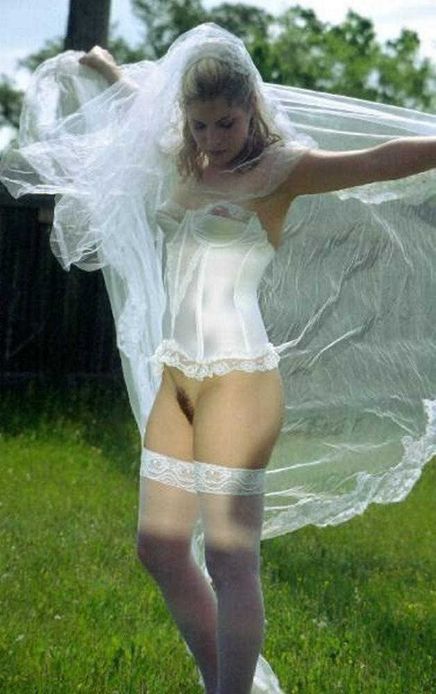 Cute bride in a wedding dress without panties 22 photo