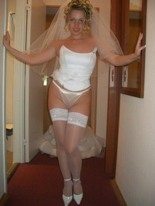 Cute bride in a wedding dress without panties 10 photo