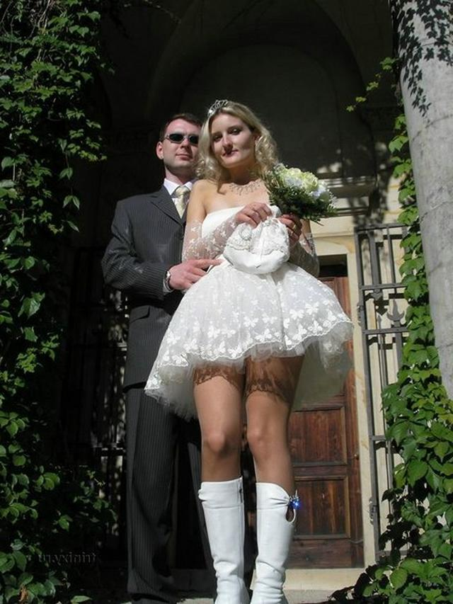 Cute bride in a wedding dress without panties 19 photo