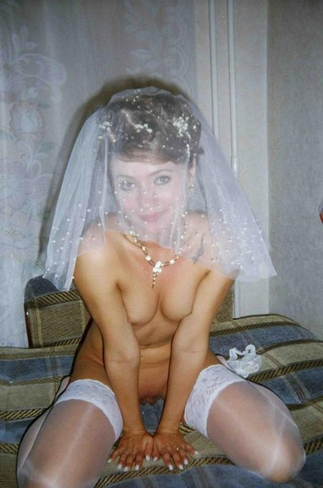 Cute bride in a wedding dress without panties 12 photo