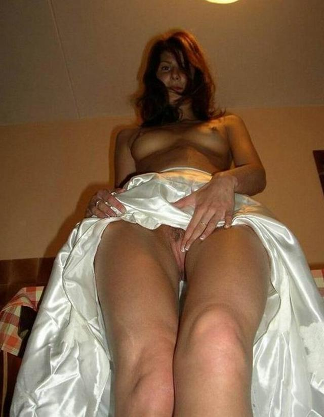 Cute bride in a wedding dress without panties 17 photo