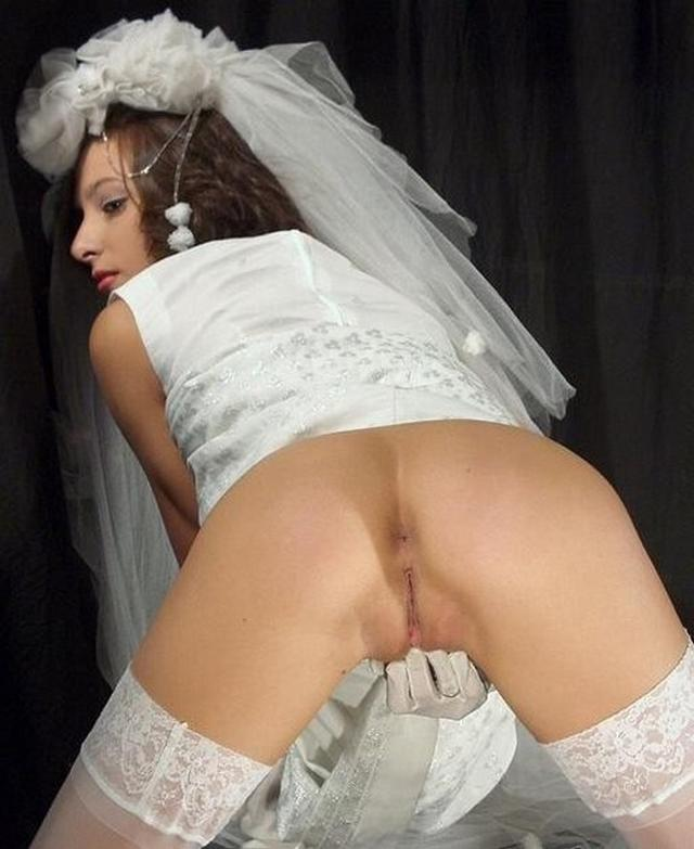 Cute bride in a wedding dress without panties 13 photo