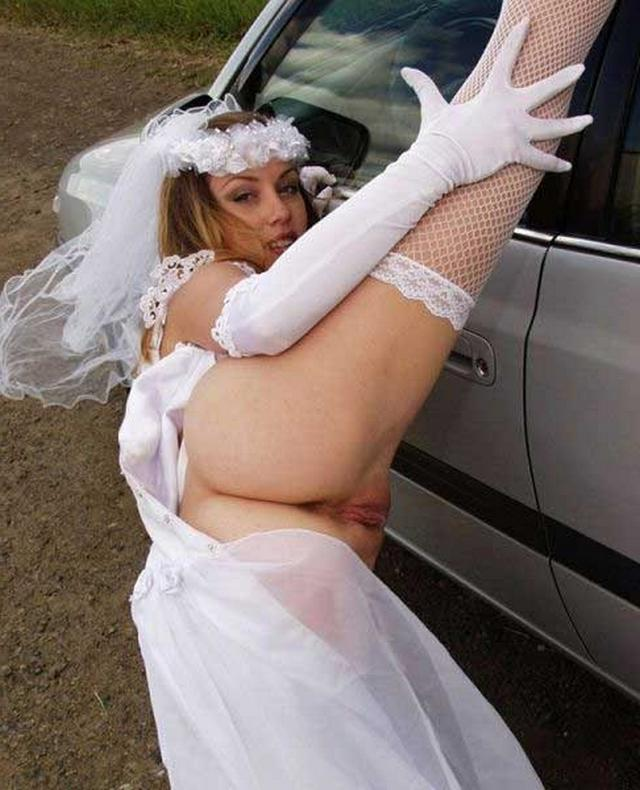 Cute bride in a wedding dress without panties 5 photo
