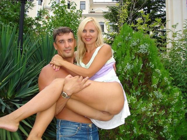 Blonde milf in a beautiful linen and silk stockings fucks with husband 2 photo