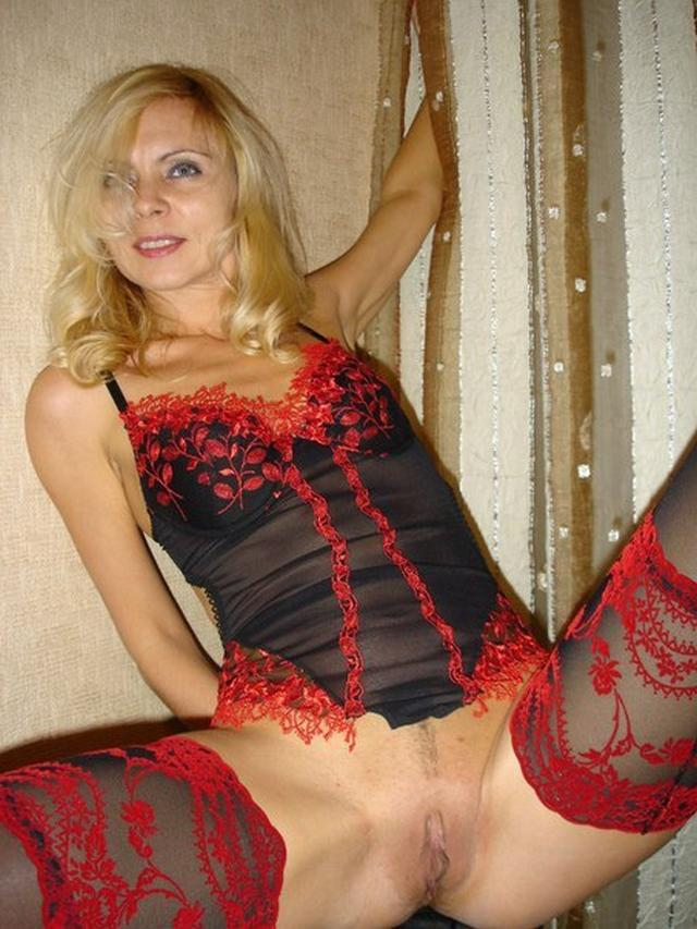 Blonde milf in a beautiful linen and silk stockings fucks with husband 4 photo