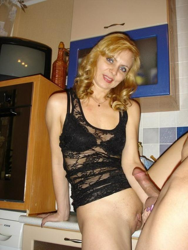 Blonde milf in a beautiful linen and silk stockings fucks with husband 9 photo