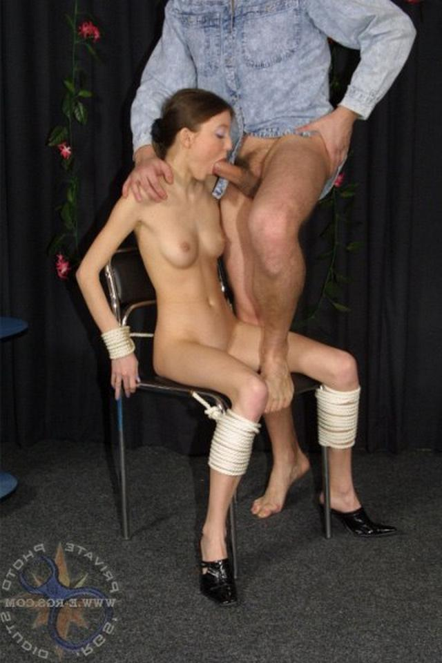 Man tied the slim girl to chair and fucked in all holes 2 photo