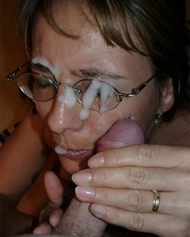 Dense sperm splatter on cute face