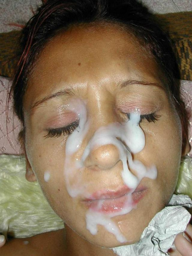 Dense sperm splatter on cute face 5 photo