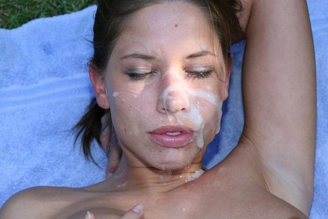 Dense sperm splatter on cute face 4 photo
