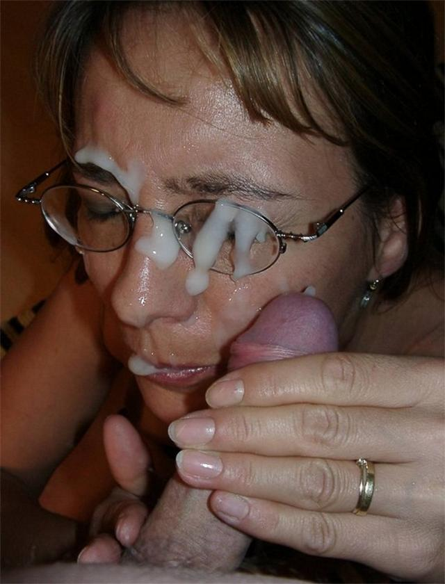 Dense sperm splatter on cute face 2 photo