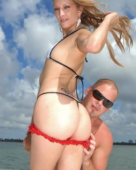Bald guy fucked sporty girl on the high seas