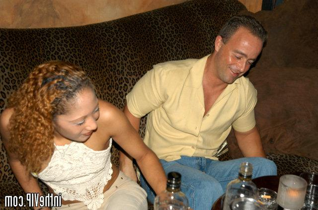 Curly tanned babe have sex in the VIP bar 12 photo