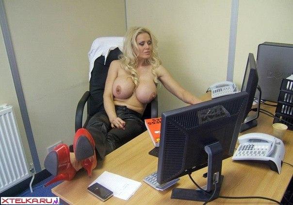 New secretary - dazzling blonde with massive boobs 7 photo