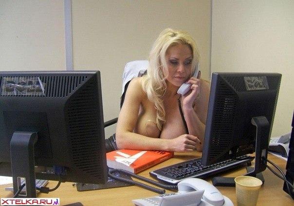 New secretary - dazzling blonde with massive boobs 3 photo
