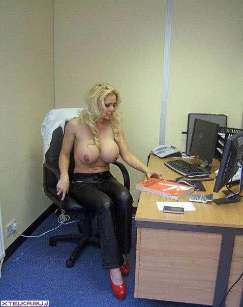 New secretary - dazzling blonde with massive boobs 4 photo