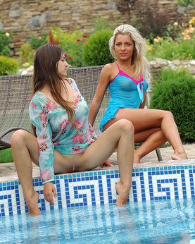 Longtime girlfriends with hot bodies naked in the pool