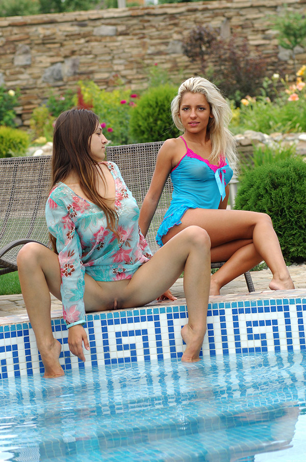 Longtime girlfriends with hot bodies naked in the pool 2 photo