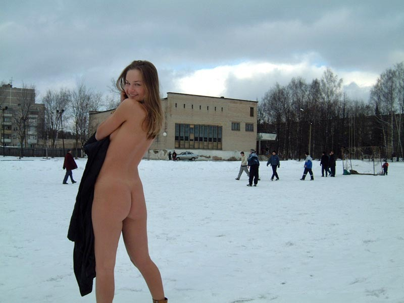 Football cheerleader stripped at the playground in the winter 13 photo