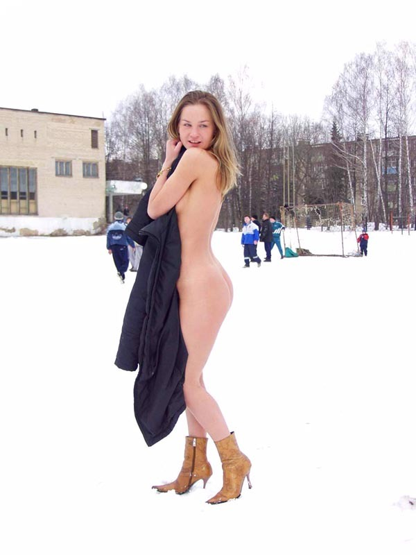Football cheerleader stripped at the playground in the winter 12 photo