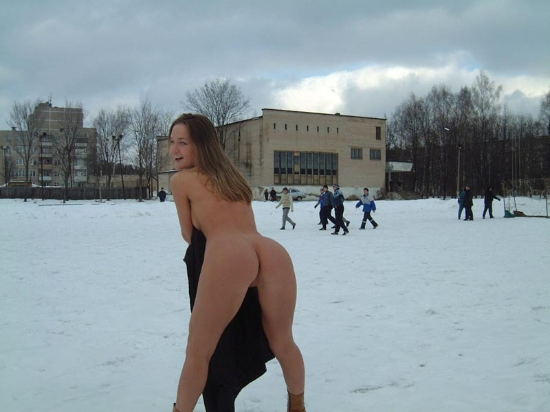 Football cheerleader stripped at the playground in the winter 14 photo