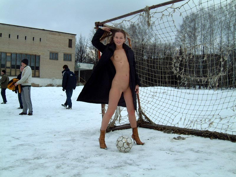 Football cheerleader stripped at the playground in the winter 27 photo