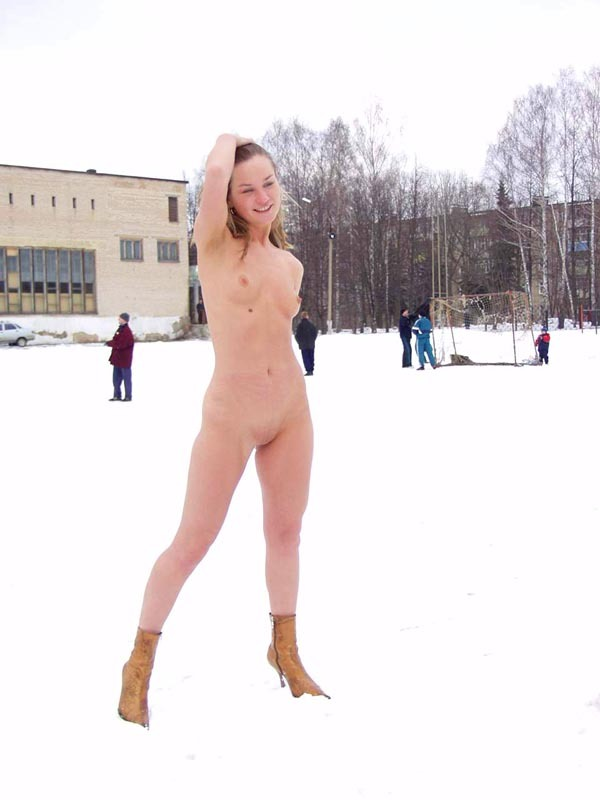 Football cheerleader stripped at the playground in the winter 19 photo