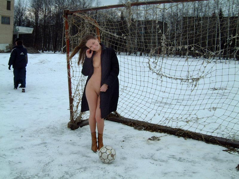 Football cheerleader stripped at the playground in the winter 25 photo