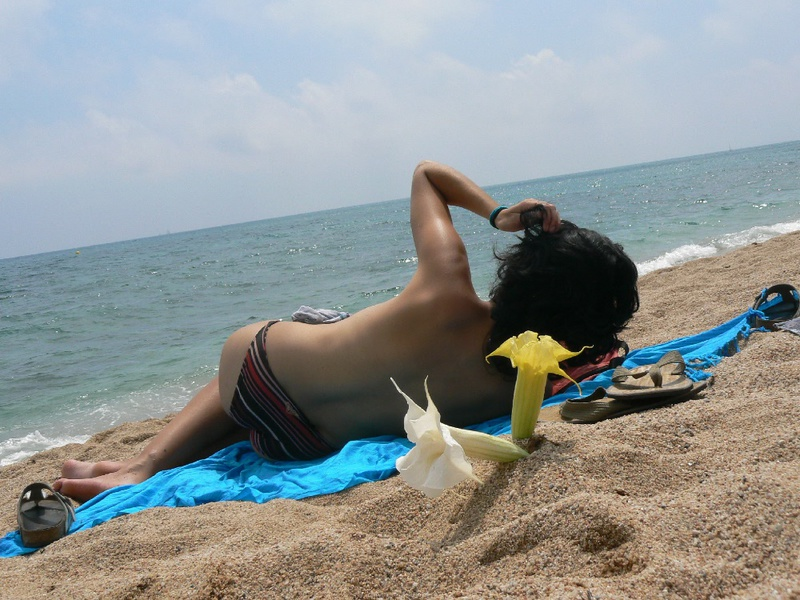 Pregnant with girlfriend relaxing topless on the beach 5 photo