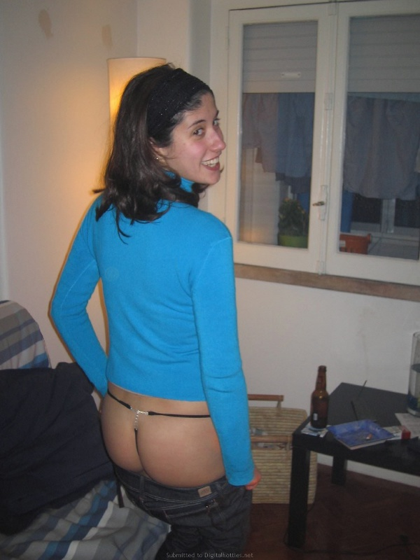 Playful brunette with nice ass posing in panties 1 photo