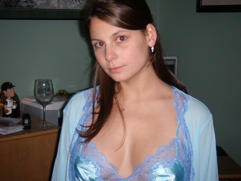 Sublime brown-eyed girl in blue lingerie meets a lover 1 photo