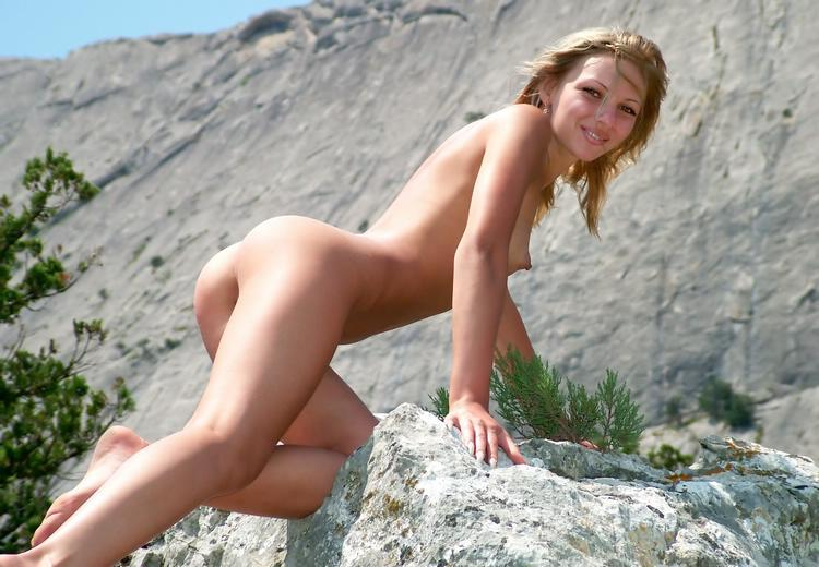 Wild blonde with beautiful elastic ass outdoors 14 photo
