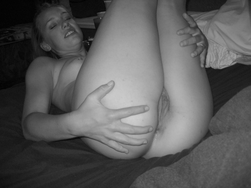 Black & white erotic performed by hot college slut 8 photo