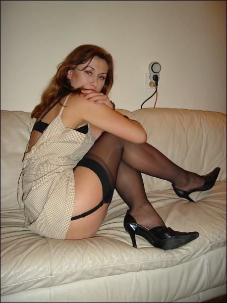Shiny mom in sexy black lingerie and stockings 2 photo