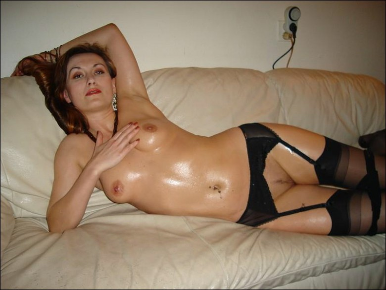 Shiny mom in sexy black lingerie and stockings 12 photo