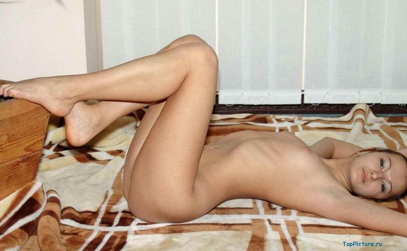Young slim brunette took off her white panties 2 photo